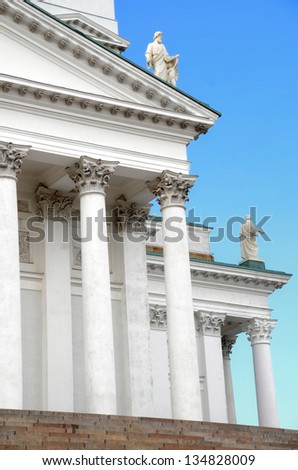 Facade of the Helsinki Cathedral in Helsinki, Finland