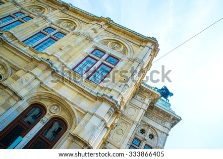 Facade of the historic Opera in Vienna, Austria, Europe. - stock photo