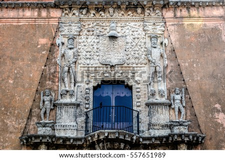 Facade of the House of Montejo, built in 1549, home of the Conqueror of Yucatan and founder of the city of Merida, Francisco de Montejo, El Mozo.