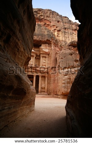 Facade of the Khasneh (Treasury) at Petra. Jordan