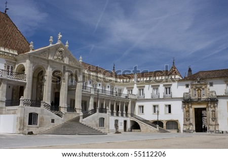 Facade of the main building of the Coimbra University - Portugal (it was founded on 1290 and it is one of the oldest university of the world) - stock photo