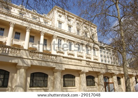 Facade of the Mall Galleries building in London, England - stock photo