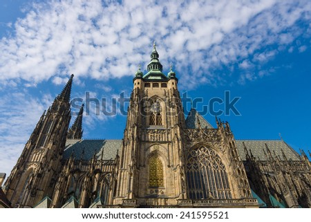 Facade of the Metropolitan Cathedral of Saints Vitus, Wenceslaus and Adalbert. Prague. Czech Republic. - stock photo