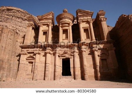 Facade of the Monastery in Petra, the world heritage site in Jordan