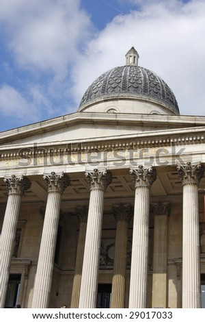 Facade of the National Gallery in London, England