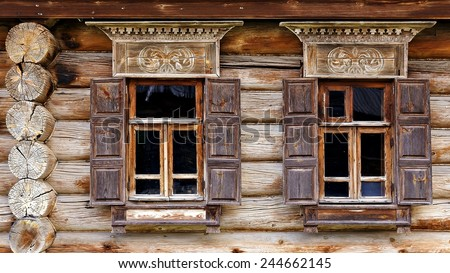 facade of the old log house in the museum of wooden architecture in Suzdal (Golden Ring of Russia) - stock photo