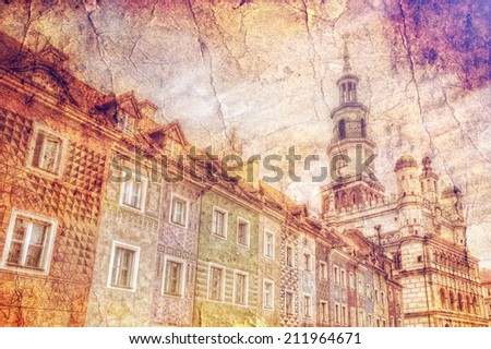 Facade of the Old Market in Poznan retro style - stock photo
