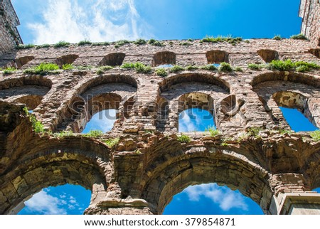 Facade of the Palace of Constantine (Tekfur Sarayi), heritage of the Byzantine Empire in Constantinople. Now the city Istanbul, Turkey. View before restoration - stock photo
