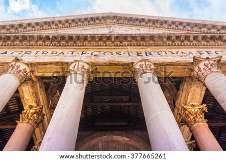 Facade of the Pantheon building in the center of Rome, Italy. The Pantheon building was constructed during the ancient Roman empire and represents a key piece in the history of architecture. - stock photo