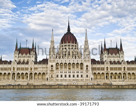Facade of the Parliament of Hungary, located in Budapest, seen from the river Danube - stock photo