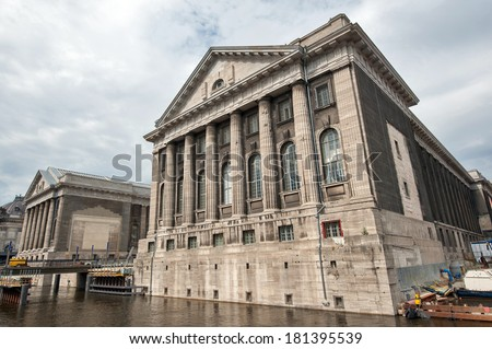 Facade of the Pergammonmuseum in Berlin. The Pergammon Museum holds a world exhibition of Greek, Roman, Babilonian and Oriental art. - stock photo