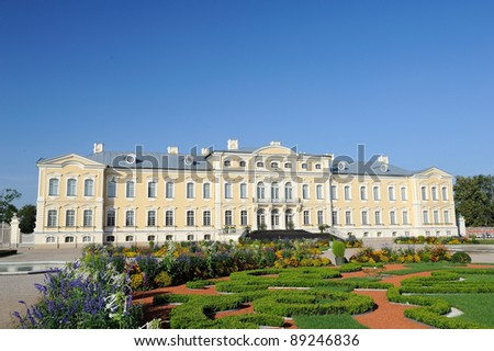 Facade of the Rundale palace - stock photo
