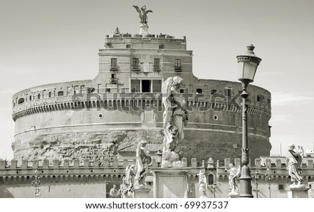 Facade of the Sant Angelo Castle in Rome, Italy.