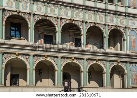 Facade of the town hall Poznan,  Poland - stock photo