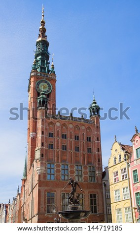facade of town hall of Gdansk,  Poland