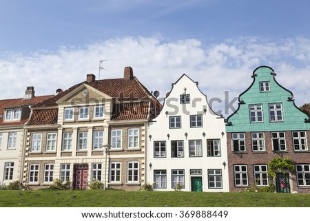 Facade of traditional buildings in Glueckstadt,Germany - stock photo