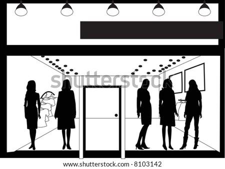 facade of women's clothing store - stock photo