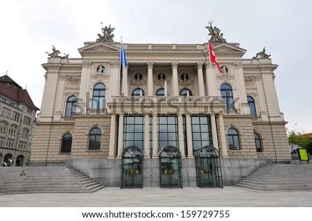 Facade of Zurich Opera House in Switzerland - stock photo