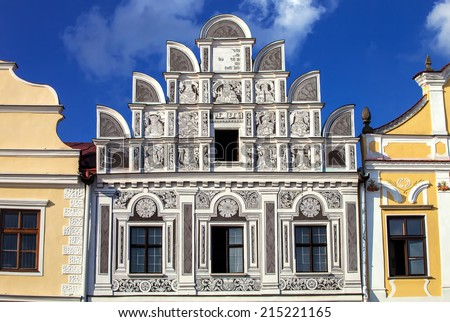 Facade one from a renaissance houses on main square in Telc, Czech Republic Unesco city  - stock photo