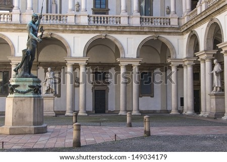 Facade Palace of Brera in Milano - stock photo