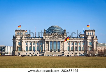 Facade view of the Reichstag (Bundestag) building in Berlin, Germany - stock photo