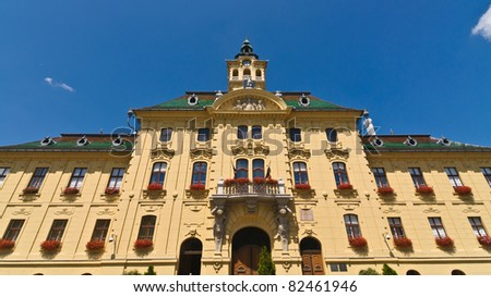 Facade view of the town hall in Szeged, Hungary - stock photo