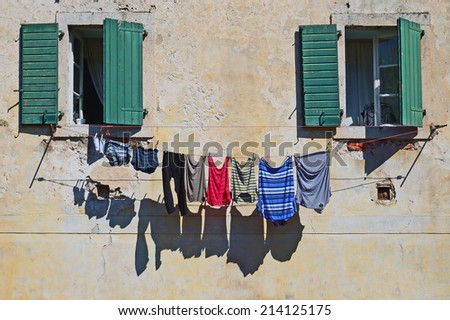 facade with colored wash - stock photo