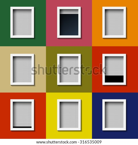 Facade with windows and colored wall. Stock image. - stock photo