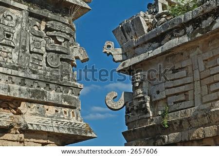 Facades at Chichen-Itza - stock photo