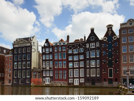facades medieval houses  in Amsterdam, Netherlands