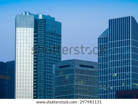 Facades of business buildings in the center of Frankfurt, Germany