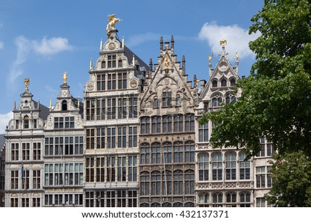 Facades of Guild buildings in the Grote Markt square - stock photo