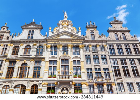 facades of historic guildhalls at the Grand Place in Brussels, Belgium - stock photo