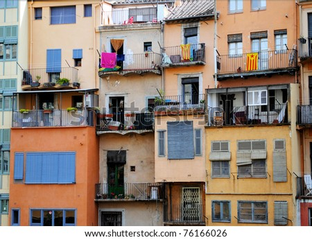 facades of residential buildings in  Jewish quarter Jirona, Spain, Catalonia - stock photo