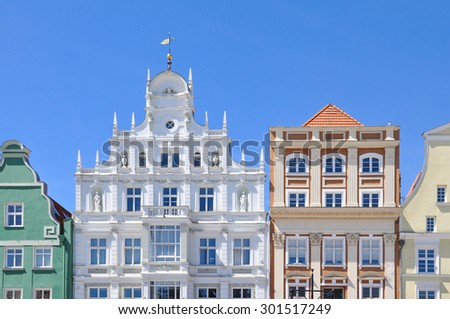 Facades of typical Buildings of Rostock, Germany - stock photo