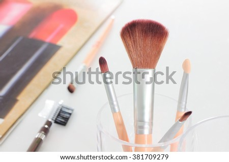 Face and eye brush set for starter on white background