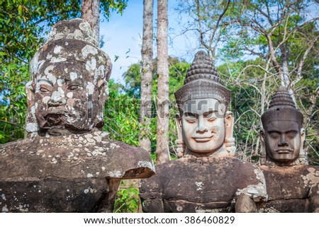 Face. Angkor Wat/ Angkor Thom. Cambodia - stock photo