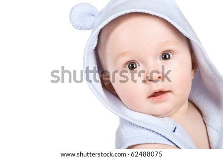 Face baby isolated on white background - stock photo