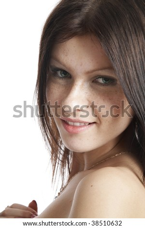 face beautiful Smiling brunette Woman