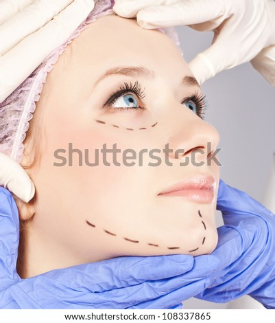 Face, before plastic surgery operation