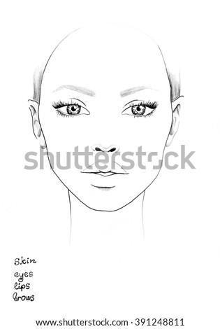 Face chart makeup artist blank template 391248811