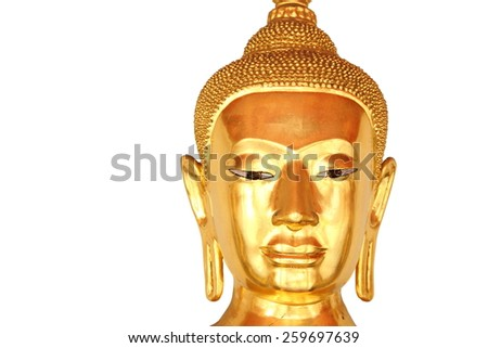 face closeup buddha statue in buddhist temple wat pho, bangkok, thailand, isolated on white background  - stock photo