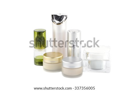 face cream box and cosmetics bottle on white background, Collection of skincare spa products, Beauty concept - stock photo