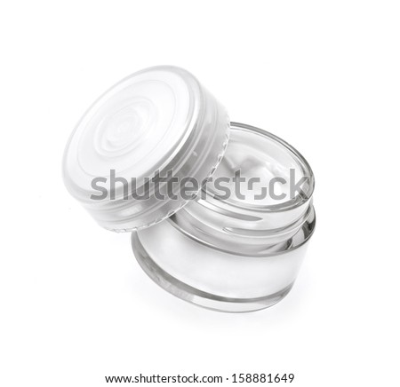 Face cream isolated on white - stock photo