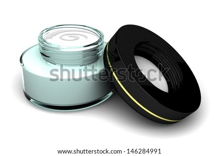 Face Cream on White Background - stock photo