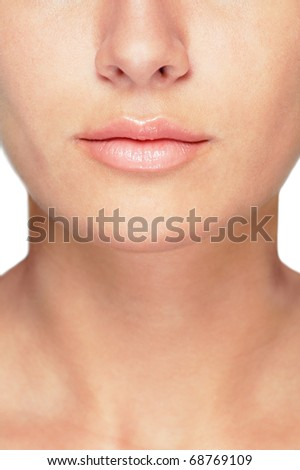 Face detail with a healthy complexion , young caucasian woman - stock photo