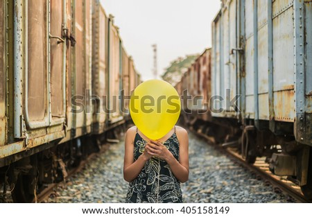 face emoticon train background vintage style photo Depth of Field - stock photo