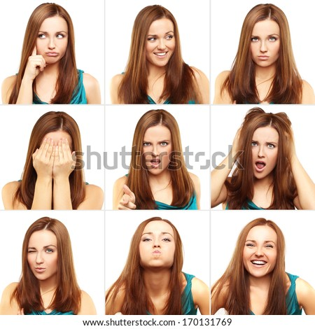 Face expressions of  young girl - stock photo