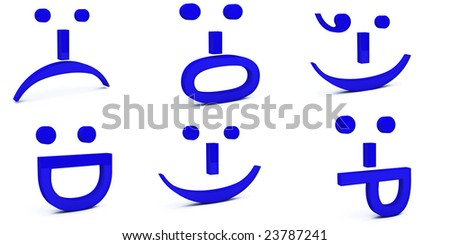 face & facial expressions created using six 3d text emoticons - stock photo