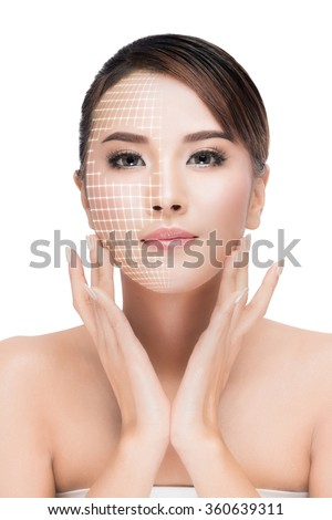Face lift anti-aging treatment - Asian woman portrait with graphic lines showing facial lifting effect on skin. isolated on white with clipping path
